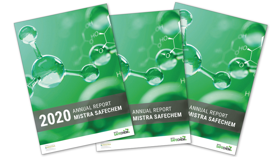 Several front pages of  the annual report for 2020 from Mistra SafeChem.